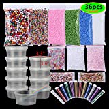 36 Pack Slime Making Supplies Kit for Kids Girls DIY Slime Tools, Fishbowl Beads,Foam Balls,Fruit Slices,Slime Storage Containers for Christmas Gift Birthday Party