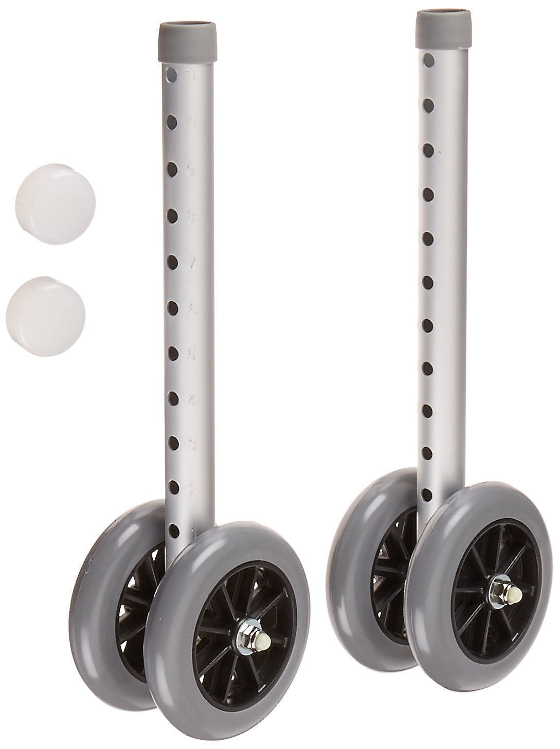 Days Double 5'' Wide Wheels and Glide Caps for Bariatric Adjustable Walker, Rollator Wheels for Elderly and Handicapped, Heavy Duty and Smooth Glide Wheel Attachments for Bariatric Walkers