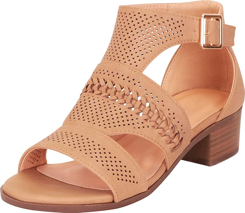 Tan Pu Cambridge Select Women's Open Toe Cutout Perforated Whipstitch Chunky Block Heel Ankle Bootie
