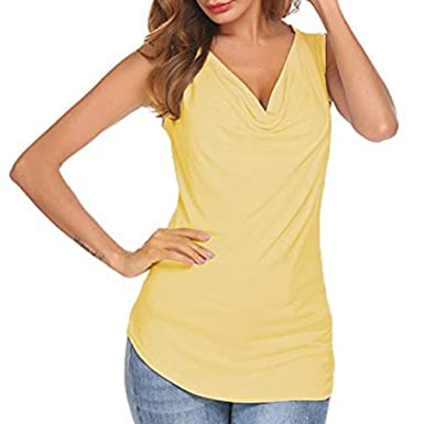 6879416bf2b3c VEMOW 2018 Spring Summer New Tops for Women Cowl Neck Ruched Sleeveless  Solid Workplace Blouse Casual Slim Fitted Shirt Tank Tops Ladies Girls  School Sport ...
