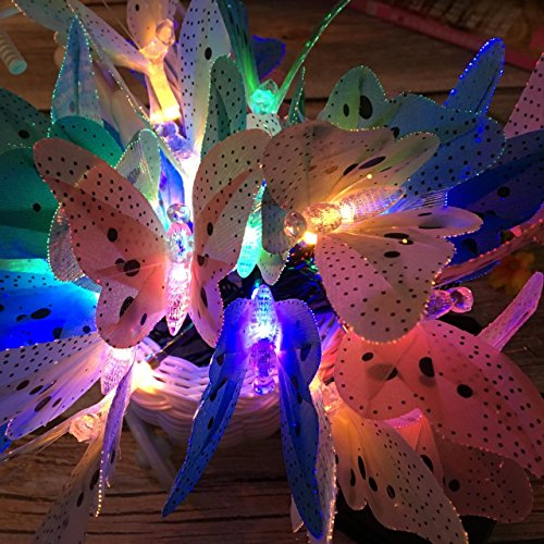 ibdone Solar String Lights, 12 LED Butterfly Fiber Optic Garden Patio Yard Outside Weatherproof Outdoor String Lights for Homes, Wedding,Cafe, LED Fairy Lights 12pcs