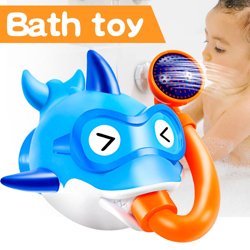 GBD Novelty Baby Bath Toys for Kids Boys Girls Toddlers-Shark Fish Bathtub Toy Summer Pool Beach Water Game Playing Children Summer Vacation Birthday Gifts (Blue)