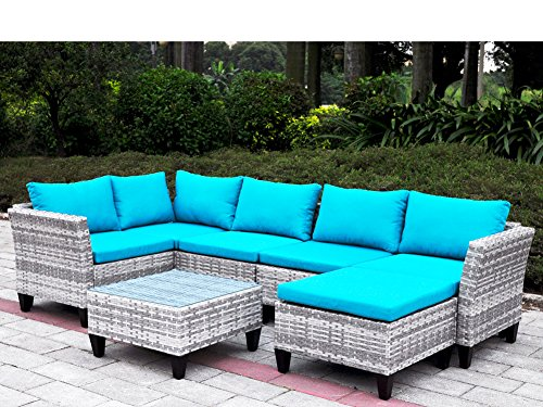 7 Pieces Outdoor Wicker Patio Sofa Set with Cushions, Sectional Conversation Sofa Couch Set with Leg Leveler, UV/Fade/Water/Sweat/Rust Resistant (Mix Gray + Blue Cushions) (North Cape Outdoor Furniture)