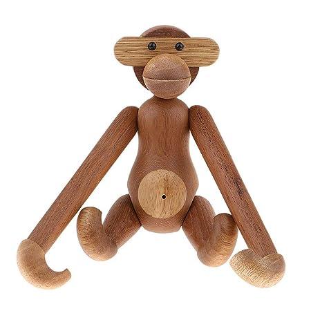 JoyMall Teak Monkey Decorations for Home,Wooden Hanging Monkey Doll Figurine Teak Wood Animal Statues Home Decoration