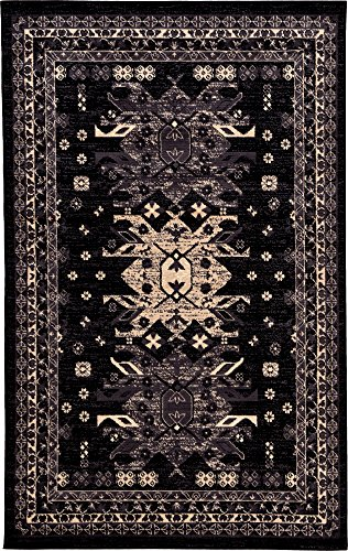 Classic Traditional Geometric Persian Design Area rugs Black 5' 1 x 8' Qashqai Heriz (Black Persian Rug)