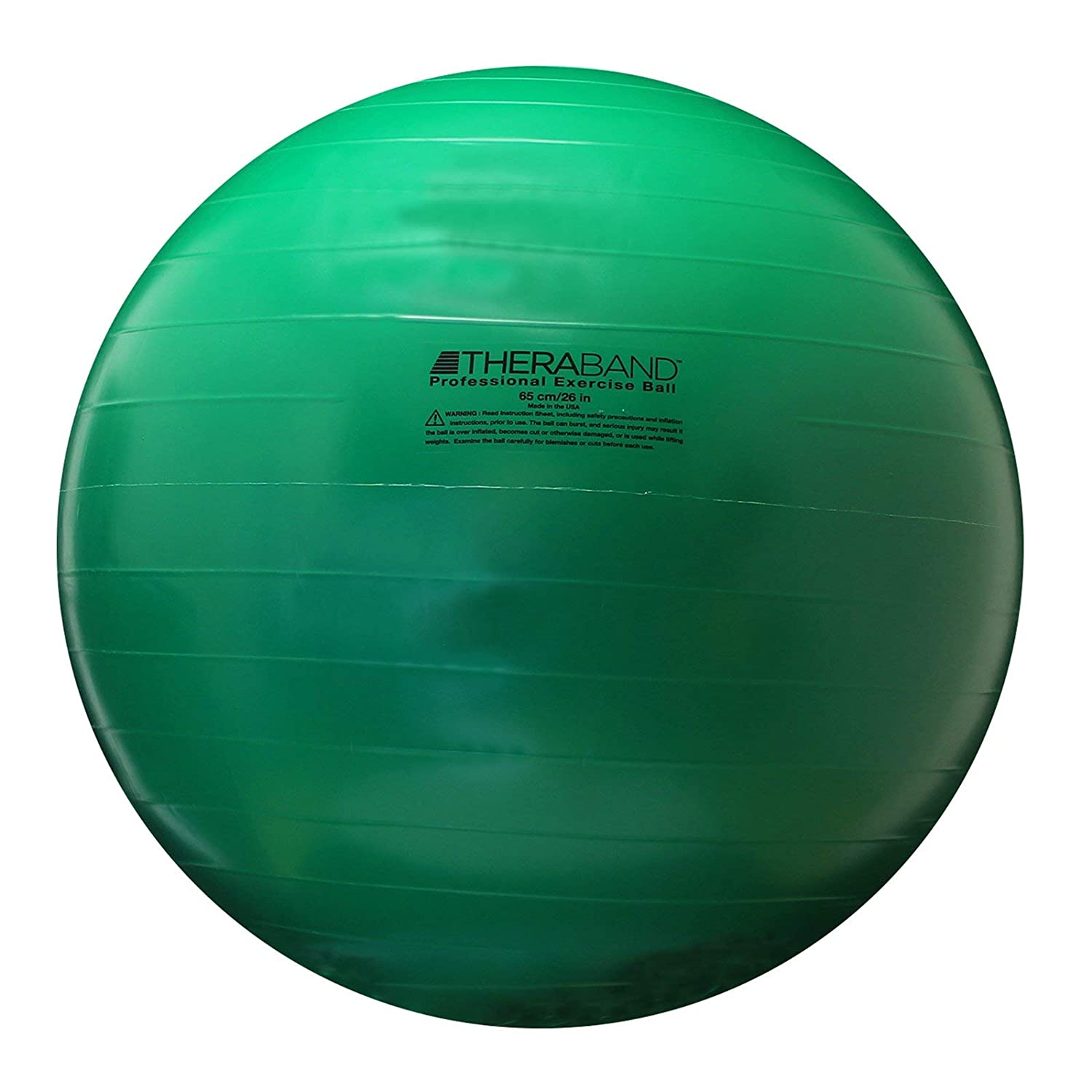 """TheraBand Exercise Ball, Stability Ball with 65 cm Diameter for Athletes 5'7"""" to 6'1"""" Tall, Standard Fitness Ball for Posture, Balance, Yoga, Pilates, Core, & Rehab, Green"""