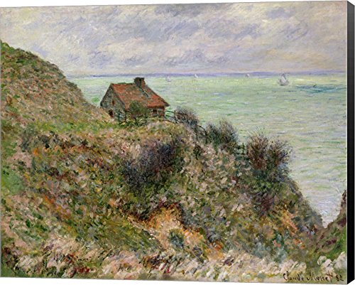 The Customs Officers' Hut at Pourville, 1882 by Claude Monet Canvas Art Wall Picture, Museum Wrapped with Black Sides, 19 x 16 inches