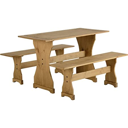 Pleasant Mexican Distressed Waxed Pine Dinette Set Table And Two Benches Gmtry Best Dining Table And Chair Ideas Images Gmtryco