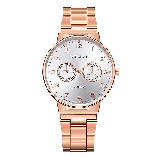Reloj Inteligente Hombre Mujer YOLAKO Reloj de Pulsera analógico con Correa de Acero Newv Band de Cuarzo para Hombre Reloj Actividad (Oro Rosa): Amazon.es: ...