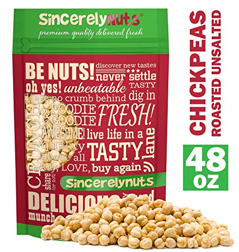 Sincerely Nuts Roasted and Unsalted Chickpeas (3 LB) Plant-Based Protein-Garbanzo Beans-Great Snack or Side Dish Alternative-Vegan, Kosher & Gluten-Free-Perfect Meal Addition for the Whole Family