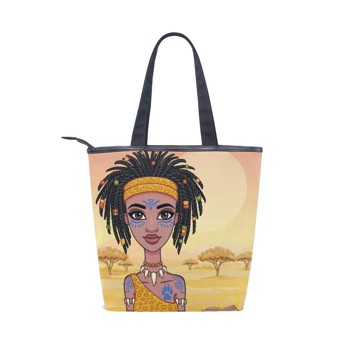 7082e0dc1f49 IMOBABY African Art Women Canvas Shopping Tote Bag Large Size ...