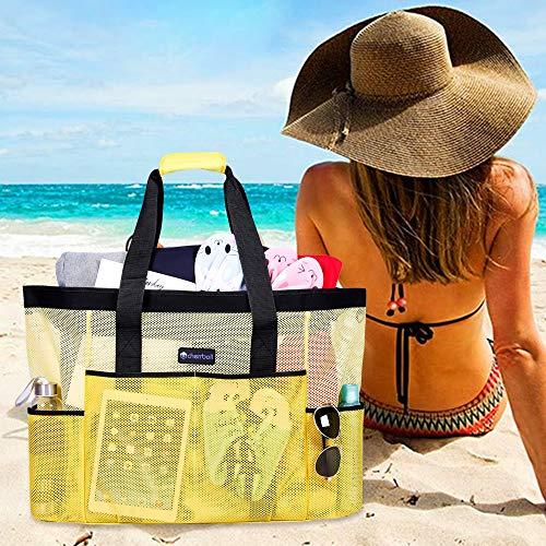 Borse da per Borse OOSAKU dimensioni picnic Nero grandi chiusura alimenti di cerniera con Giallo Borse spiaggia Tote da a a tracolla spalla porta Borse a xxl donne EqxwBpq0