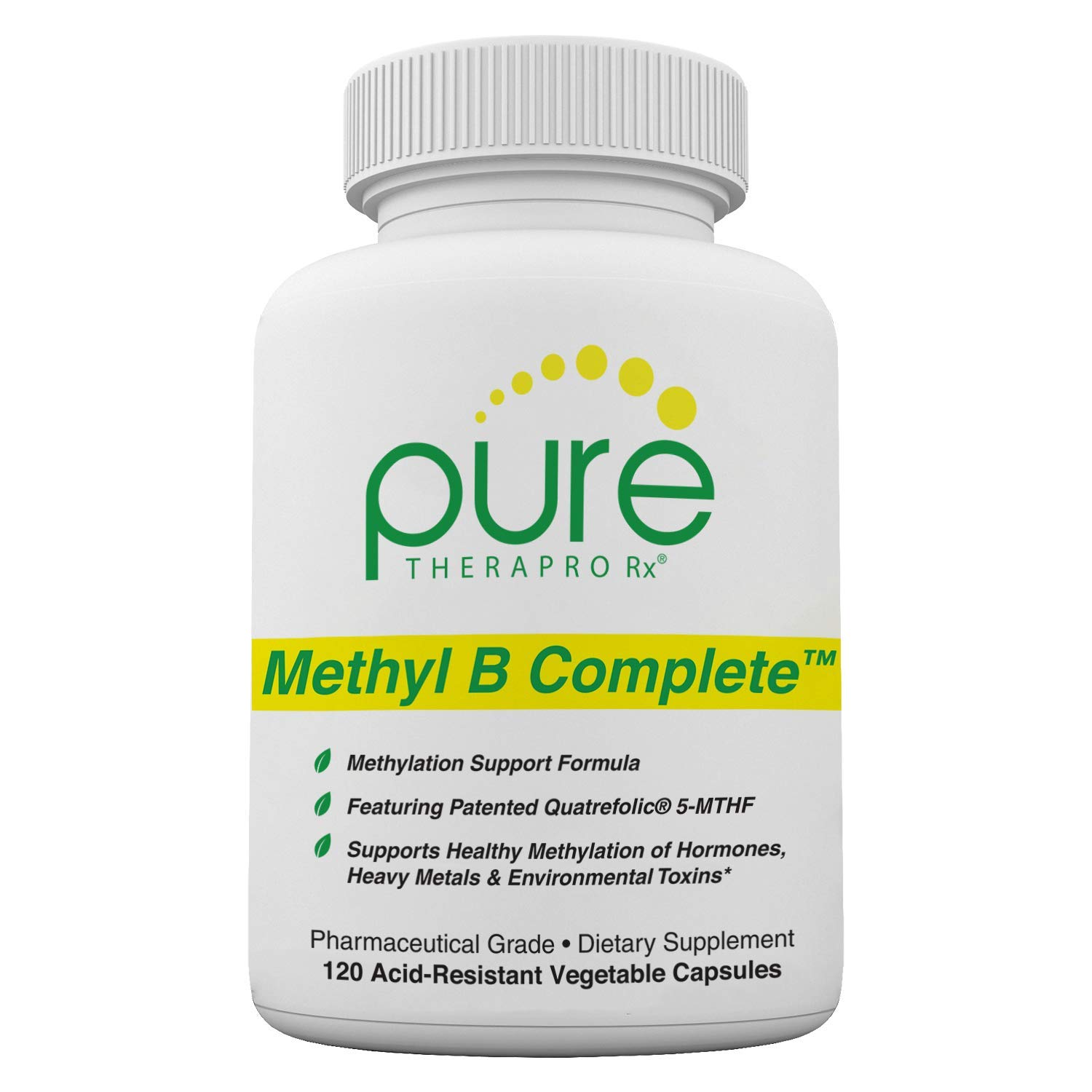 Methyl B Complete - 120 Vegetable Capsules | Optimal Methylation Support Supplement with Quatrefolic 5-MTHF (Active folate), Methylcobalamin (Active B12), B2, B6, and TMG | Pharmaceutical Grade by Pure Therapro Rx
