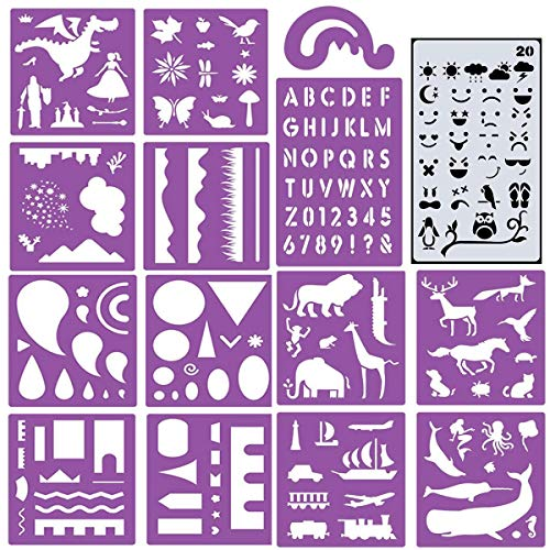 - ZtuoYong 15 Sheets Plastic Painting Stencils Set for Kids, Colorful DIY Drawing Templates for Children Over 170 Patterns