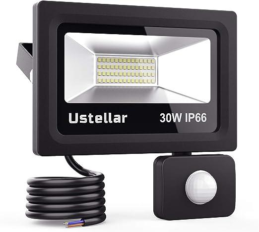 Ustellar Foco LED de 30 W con sensor de movimiento, foco LED para exterior, IP66 resistente al agua, foco exterior, foco de pared PIR para jardín, garaje, pasillo [clase energética A+]: Amazon.es: