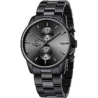 GOLDEN HOUR Reloj de Cuarzo para Hombre de Negocios de Moda con cronógrafo Impermeable de Acero Inoxidable para Hombre…