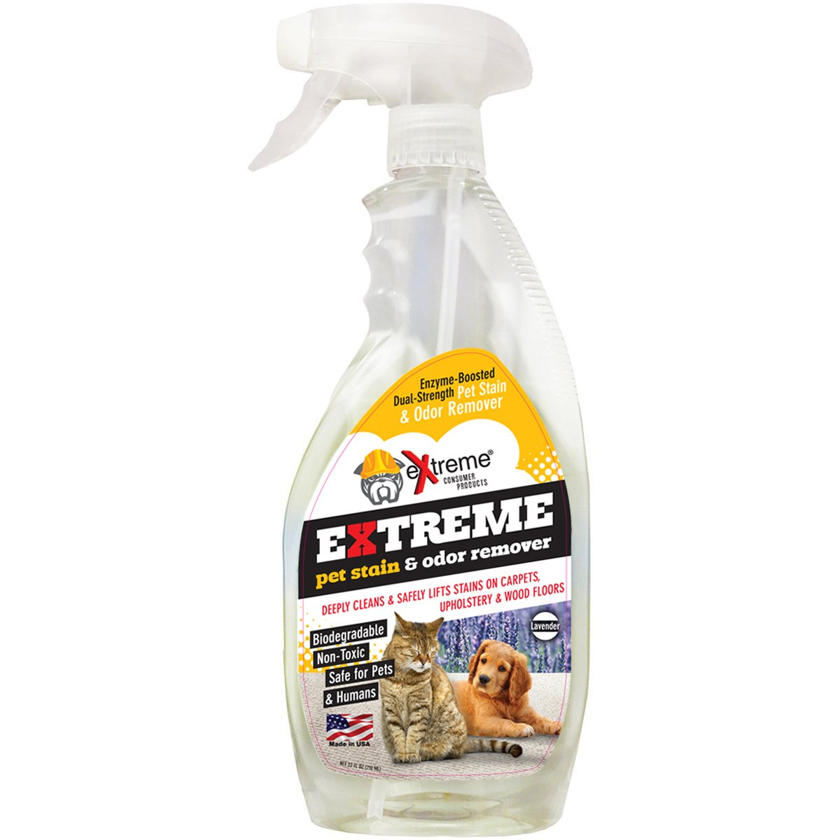 Extreme Pet Stain & Odor Remover - Lavender Scent - Non-Toxic and Biodegradable - Safe for Pets and Humans - Carpets, Wood, Upholstery - 22oz Spray Bottle