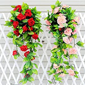 Gilroy Artificial Fake Silk Rose Flower Vine Hanging Ivy Garland Home Decor (Red) 4