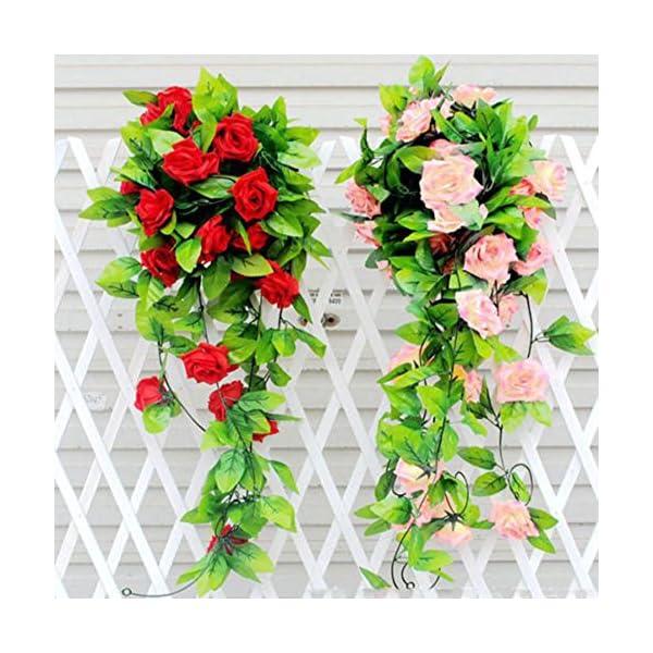 Gilroy-Artificial-Fake-Silk-Rose-Flower-Vine-Hanging-Ivy-Garland-Home-Decor-Red