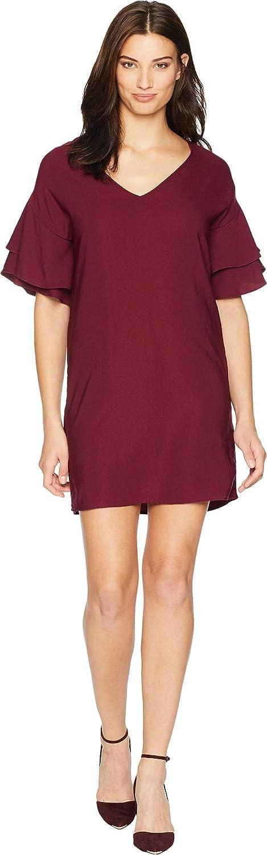 Burgundy American pink Womens Dawn Ruffle Sleeve Shift Dress