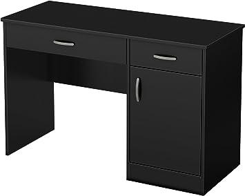 Amazon Com South Shore Small Computer Desk With Drawers Pure Black Furniture Decor