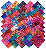 Arts & Crafts : Kaffe Fassett Collective BOLD BRIGHT Precut 5-inch Cotton Fabric Quilting Squares Charm Pack Assortment Westminster Fibers