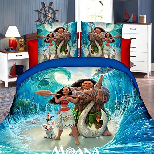 Ln 3 Piece Kids Ocean Blue Moana Themed Duvet Cover Twin Set, Hawaii Bedding Chief Tui Hawaiian Themed Movie Waves Turtles HEI HEI The Rooster Childrens Tropical Brown Green, Polyester