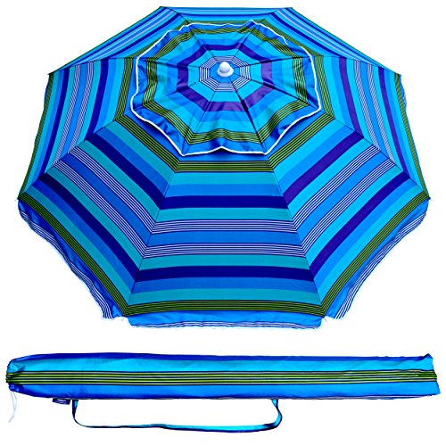 AMMSUN 6.5 Ft Outdoor Patio Beach Umbrella Sun Shelter with Tilt and Carry Bag UPF 50+ Multicolor Blue