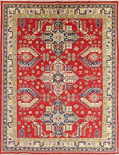 Kazak Oriental Area Rug Handmade New Persian Wool 9 x 12 Geometric Carpet Red (11' 9'' X 9' 0'')