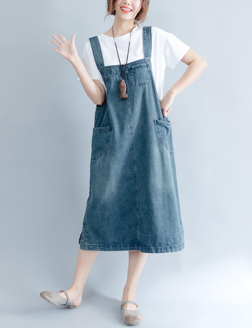 1662be18b8f Innifer Women s Plus Size Loose Casual Strap Jean Denim Overall Dress