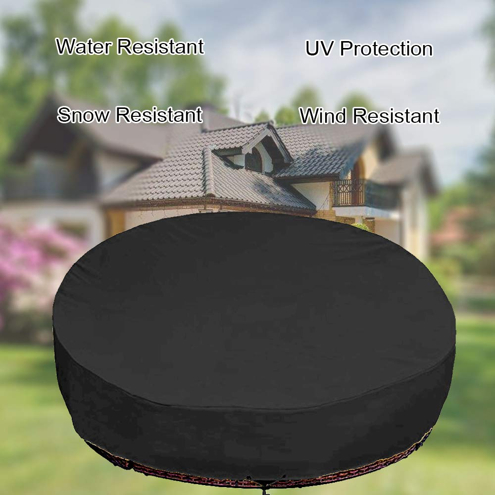 ,Beige Mitef Waterproof Round Canopy Daybed Sofa Cover,Heavy Duty Outdoor Patio Furniture Air Vent Cover,88 Lx85 Wx35//16 H 223x216x40.6//90cm