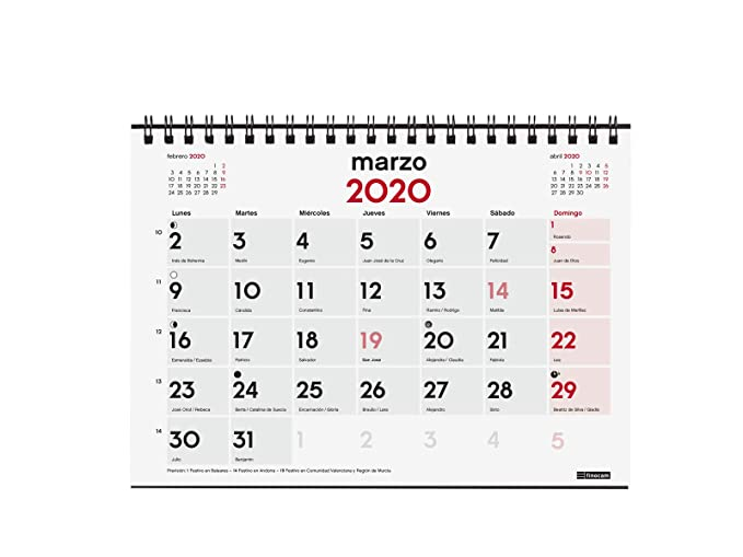 Amazon.com : Desktop Calendar 18 Months 2019-2020 Spanish ...