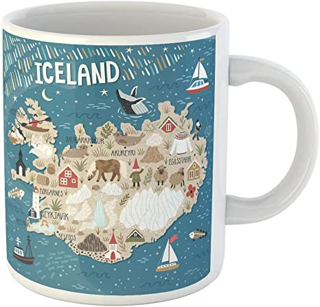 Amazon Com Semtomn Funny Coffee Mug Ocean Map Of Iceland Travel Landmarks People Animals And Nature 11 Oz Ceramic Coffee Mugs Tea Cup Best Gift Or Souvenir Coffee Cups Mugs