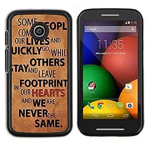 LECELL--Funda protectora / Cubierta / Piel For Motorola Moto E -- Relaciones Gente Quote Love Life Change --