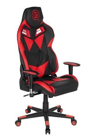 hjh OFFICE 734020 silla gaming GAMEBREAKER SX 03 piel sintética negro / rojo silla racing silla
