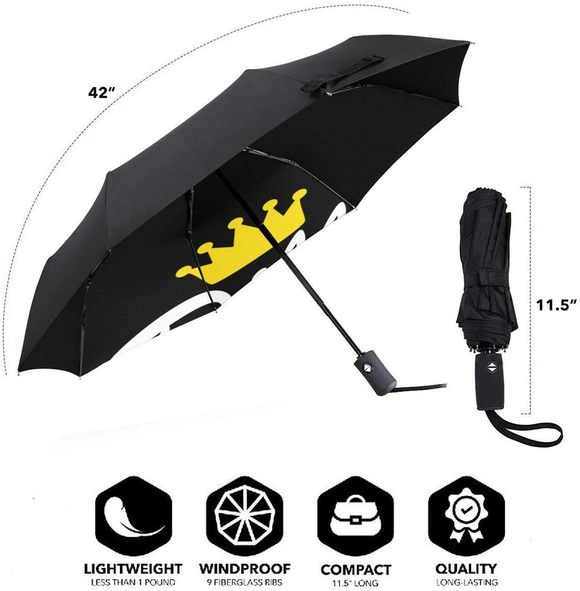 Dilly Dilly Crown Automatic Tri-Fold Umbrella Parasol Sun Umbrella Sunshade
