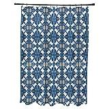 E by design Beach Tile Geometric Print Shower Curtain 71'' x 74'' Blue
