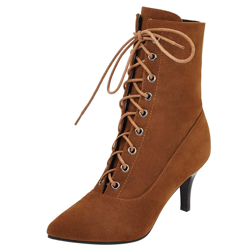Midress Fashion Suede High Heels Boots Women Lace-Up Solid Color Thin Heel Pointed Toe Booties Evening Party Wedding Casual Shoes by Midress
