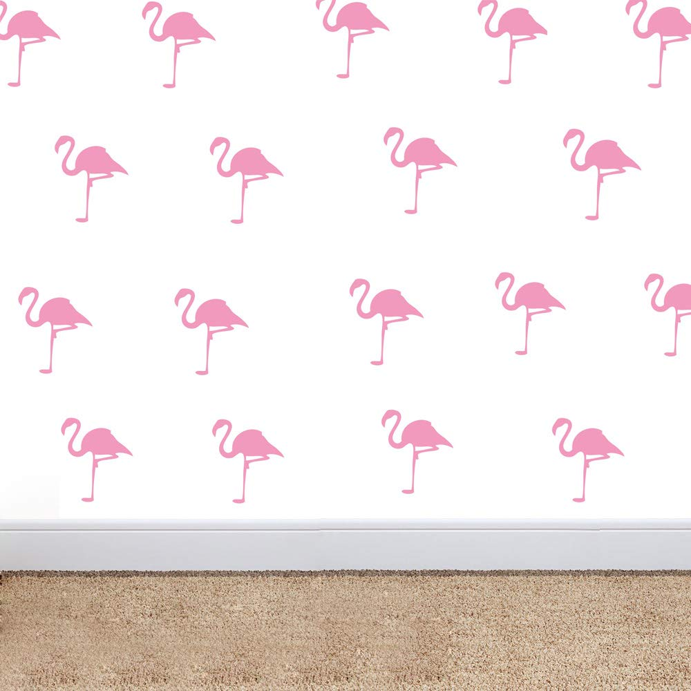 32 Pieces Flamingo Wall Art Stickers Removable Decoration Stickers for Kids Room Nursery Wall Decal Girl Bedroom Vinyl Mural (Light Pink)