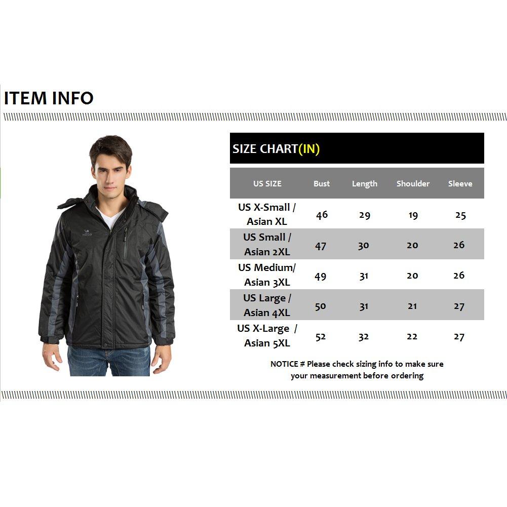 Men's Winter Warm Fleece Lined Ski Coats Outdoor Hooded Waterproof Parka Jacket Black US X-Large / Asian 5XL by HENGJIA (Image #7)