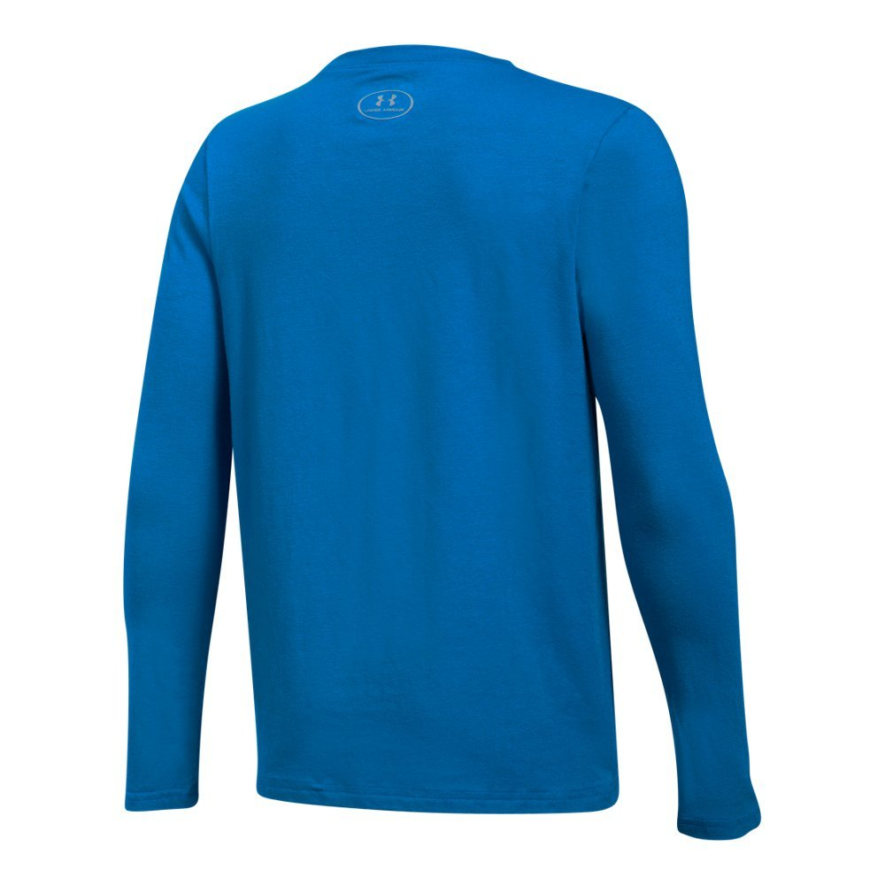 Boy's Under Armour Boys' Crossbar Logo Long sleeve T-Shirt,Cruise Blue /White, Youth X-Large