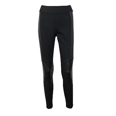 509676245566e European Culture Womens Fuseaux Faux Leather Patch Leggings Black Small