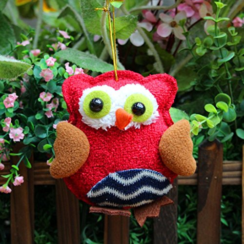 CieKen Creative Plush Owl Dolls Christmas Festival Ornaments Toys Children Plush Doll Gift Christmas Tree Ornaments Hanging (D)