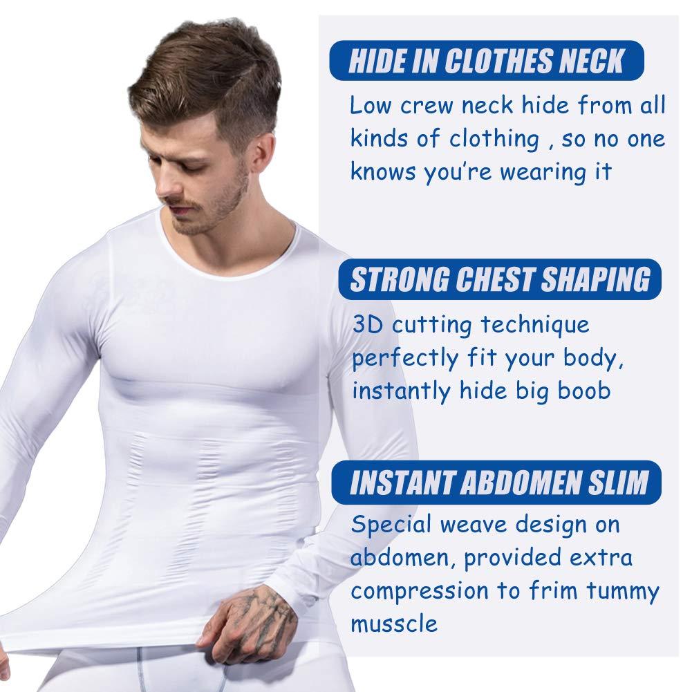 Mens Slimming Body Shaper Long Sleeve Shapewear Abs Abdomen Slim Undershirt MASS21