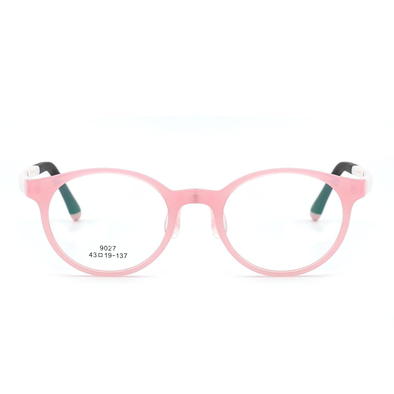 Occhiali da Vista da Bambino Lenti Rotonde con Montatura TR, Ragazze Ragazzi Senza Prescrizione Lenti Chiare (Nero lucido/Trasparente) Jim Optical 9027C13-3