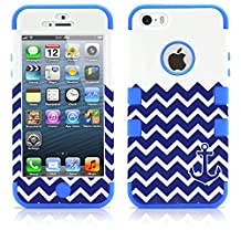 iPhone 5 Case, MagicMobile® Hybrid Impact Shockproof Cover Hard Armor Shell and Soft Silicone Skin Layer [ Chevron Pattern with Anchor Design Color: White - Blue ] with Screen Protector and Stylus