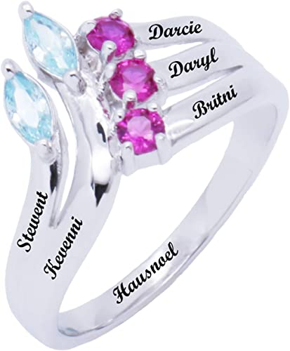 Promise Ring Sterling Silver Rings for Women Personalized Band Ring Meaningful Wedding Ring Custom 2 Heart Simulate Birthstone Couples Girlfriend Girl Mother Wife Mom