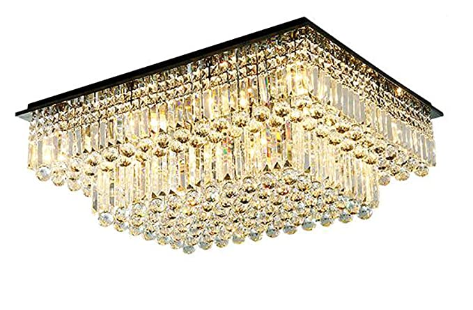 on sale c9ceb 0ff2c Moooni Modern Rectangular Crystal Chandelier Lighting Raindrop Flush Mount  Ceiling Light Fixture for Dining Rooms Living Rooms Hotel Large Rectangle  ...