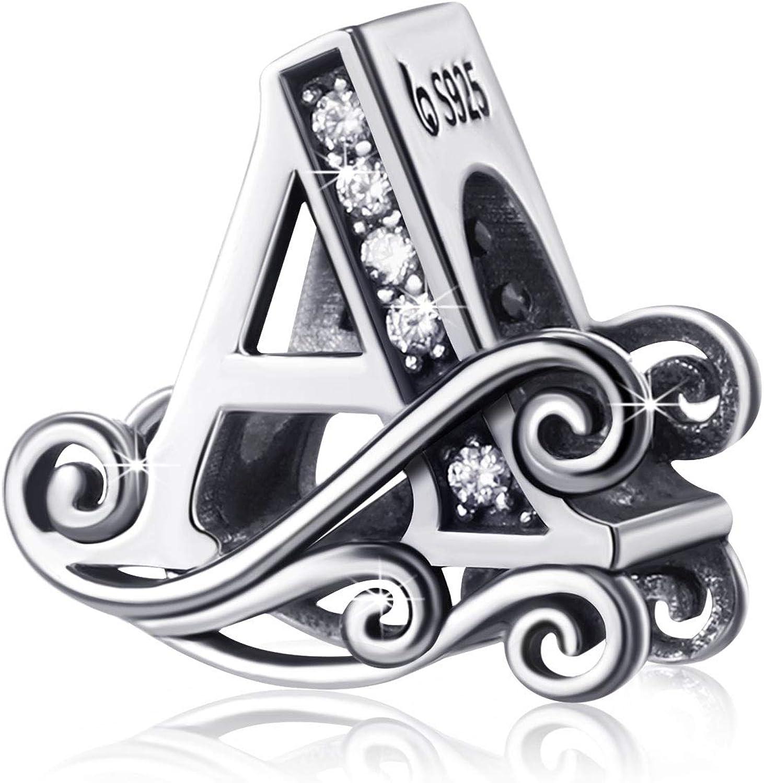 WILLBOND Cuentas de Alfabeto de Anti-Sensible de Plata Charms de Letras de Iniciales deste A hasta Z para Collar de Pulsera de Cadena de Serpiente, Niñas Mujeres Hijas Hombres