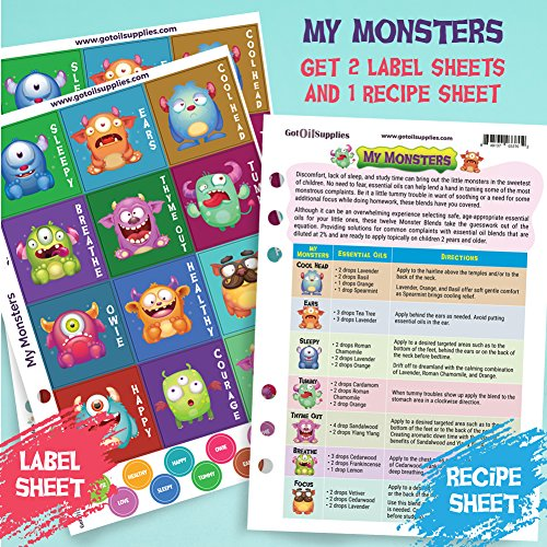 Got Oil Supplies Roller Bottle Labels - My Monsters Collection For Kids - 12 Unique Designs For 10ml Essential Oil Bottles - 24 Label, 24 Lid Stickers & 1 Recipe Sheet Included